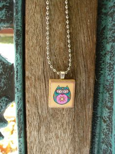 Scrabble Tile Neclace Owl Blue and Pink. $5.95, via Etsy.