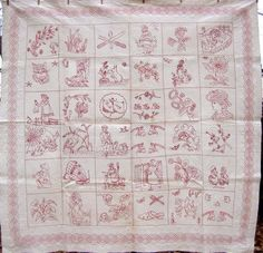 A dated Redwork quilt from Allentown, PA This redwork quilt bears the initials of the maker, Hannah E Morey, and the date 1892.
