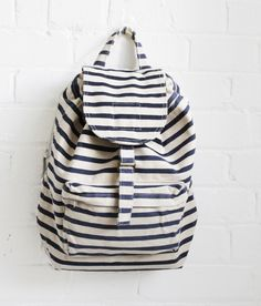 stripes and bacpack, what a combo!