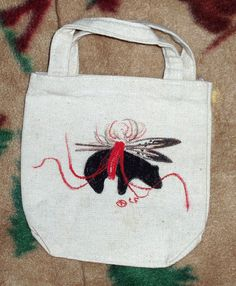Small Canvas Tote w/ Handpainted American Indian by PaintedLodge