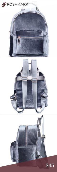 HOST PIC GREY MINI VELVET BACKPACK PURSE LAST ONE!!!. Brand new item. No tags. Never used. All aspects are in mint condition. Cute velvet mini backpack. Perfect item accessorize with any outfit. Not Nasty gal, just posted for viewing. Thank you.  Main features: Material: Velvet Lining Material: Polyester Bag height: 11in Bag thickness (side measurement) : 5.5in Bag width: 9in  Types of bags: School bag&backpack Shape: Trunk Interior: Cell Phone Pocket The internal structure: Interior zipper…