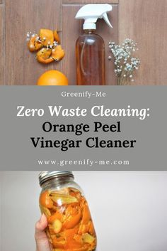 Zero Waste Cleaning: Orange Peel Vinegar Cleaner - Orange Peel Vinegar is perfect for zero waste cleaning! It makes a great DIY all-purpose cleaner. Here's how to make it and use it. Deep Cleaning Tips, House Cleaning Tips, Natural Cleaning Products, Cleaning Hacks, Diy Hacks, Natural Cleaning Recipes, Green Cleaning, Cleaning Crew, Eco Friendly Cleaning Products