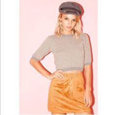 Faux Suede Mini Skirt in Khaki New Skirts Mini