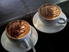 Two beautifully crafted coffees at Vanilla Bean Café in Addington. It is a pleasant place, popular but not noisy.