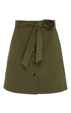 This **Tibi** skirt features a modern take on the cargo skirt, with an A-line silhouette and front tie.