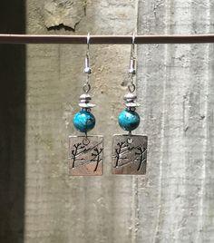 Silver Earrings Dangle Earrings Bohemian Earrings Turquoise Earrings Boho Jewelry Gypsy Earrings Nature Earrings Tree Earrings Boho Jewelry by KesaliSkye on Etsy