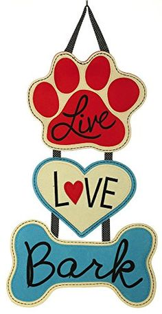 Bring some puppy loving fun to your front door decor with this adorable canine themed door hanger. A heart shape as well as a dog bone shape dangle from a paw print. Dog Crafts, Animal Crafts, Animal Decor, Dog Wreath, Burlap Door Hangers, Outdoor Flags, Idee Diy, Unique Doors, Dog Signs