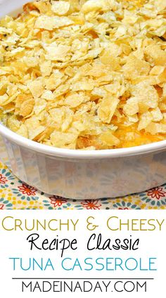 Cheesy Tuna Casserole with crushed Kettle chips & cheese! Tuna casserole is one if my families all time favorite dishes. Ive added kettle chips and shredded cheddar cheese to perk up the flavors of this classic dish. via Kim Purvis Cheesy Recipes, Fish Recipes, Seafood Recipes, Cooking Recipes, Recipies, Kraft Recipes, Canned Tuna Recipes, Keto Recipes, Chicken Recipes