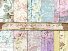 Shabby Chic Wood Digital Papers with Flowers. Wood and Flowers Digital Papers. Wedding, Cottage, Birth, Invitation, Instant Download.n. 077