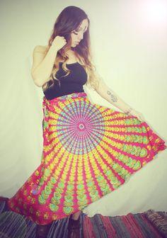 Bohemian Wrap Skirt, Peacock Print Hippie Skirt, Cover-Up, Boho, Gypsy, Moon Sunburst, Christmas gift, Festival Skirt, Small, Winter skirt