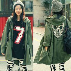 New Korea 2017 Women's Punk Skull Head Hooded Coat Rain Trench Outerwear fashion women #Affiliate