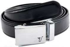 "Mission Belt Men's Brushed Stainless Steel and Black Leather Ratchet Belt - Small - Alloy Classic Mission Belt. $34.95. Warning: May Cause Delusions of Grandeur - You will still need to keep your day job and pay your taxes, even though you won't feel like it. Genuine Leather - 1.25"" wide, smooth black leather with no needless holes to crack or wear out. A Perfect Fit Every Time - Scratch resistant, brushed stainless steel ratchet buckle and 1/4"" spaced teeth in leather adjusts t..."