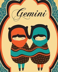 "Gemini Zodiac Sign Drawing Art Print, Astrological Illustration of ""GEMINI"" 8x10 Modern Artwork, Gemini Constellation / Horoscope Poster,. $19.00, via Etsy."