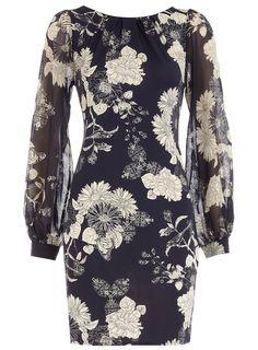 Ink foil flower dress Dorothy Parker $59.00