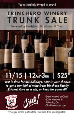 Great holiday shopping ideas are here! Trinchero Winery Trunk Sale Saturday, November 15th 12pm-3pm