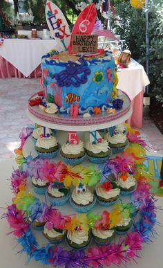 Beach Luau Under the Sea Surfing Cake and Cupcake Tower