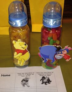 Winnie the Pooh bottle game! Guess how many pieces of candy are in the bottle! Baby Shower Game! The candy, Sugar Babies, is the prize for the winner!