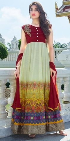 Vibrant Maroon And Multi-Color Cotton Anarkali Suit.