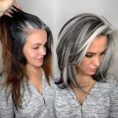Some ladies they only have heavy grey around their front hair line the same as this beautiful client of mine who came from Arizona and I… Grey Hair Transformation, Gray Hair Highlights, Grey Hair Lowlights, Blonde Hair With Grey Highlights, Colored Hair Streaks, Chunky Highlights, Caramel Highlights, Grey Hair Inspiration, Gray Hair Growing Out
