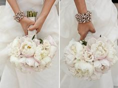 White peonies with just a hint of pink