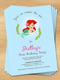 under the sea themed invitation is perfect for your sweet little