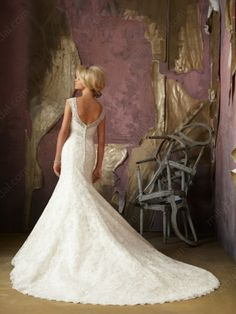 Mermaid V-neck Embroidery Lace Sweep Train Wedding Dress