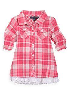 Pumpkin Patch - dresses - western check dress - W2BG80017 - dusky pink - newborn to 12-18mths