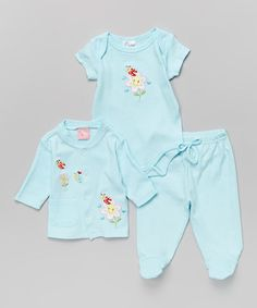 Look what I found on #zulily! Blue Floral Cardigan Set - Infant by Sweet & Soft #zulilyfinds