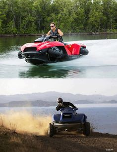 If you could combine the off road mobility of an ATV on the ground with the speed and maneuverability of a jet ski in the water, you might dream up something like this, the Quadski. Incredibly fast amphibious vehicle looks like something out of a James Bond movie, but it's for real, thanks to the mind of entrepreneur Alan Gibbs.  Posted by www.GoMadideas.com #GoMad http://gomadideas.weebly.com/blog.html