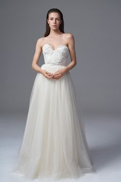THE ROSA APPLIQUE CORSET AND DITA SOFT GATHERED TULLE SKIRT. BRIDAL WEDDING DRESS BY HALFPENNY LONDON