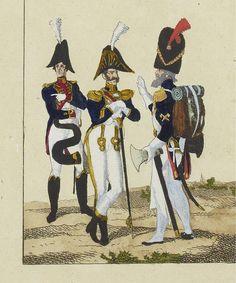 """Détail d'une estampe du temps, par Baour, représentant Jean-Nicolas Sénot entre un musicien et un sapeur du 1er Régiment de grenadiers à pied de la Garde Impériale, la """"tête de colonne""""."""
