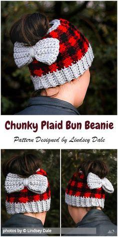 Crochet Chunky Plaid Bun Beanie Pattern by PatternsValley Crochet Adult Hat, Plaid Crochet, Chunky Crochet, Crochet Beanie, Crochet Baby, Free Crochet, Knitted Hats, Knit Crochet, Crochet Doilies