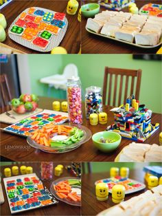 LOVE the LEGO cookies made with frosting and M & M'S! Could be an activity during a party!