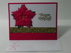 Poinsettia Hand Stamped Christmas Card by HandCraftedBy2 on Etsy