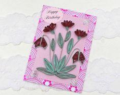 Card- Birthday- Paper Quilled -Paper Quilling- Birthday -Mom-Crimson Keepsake-Heartflowers - Handmade Paper Flowers- Australia