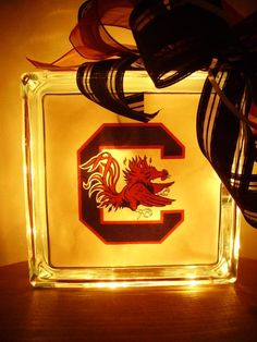 Lighted glass block SC Gamecocks graduation gifts personalized (optional). $24.99, via Etsy.