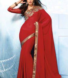 Chiffon saree with cut work border and readymade border