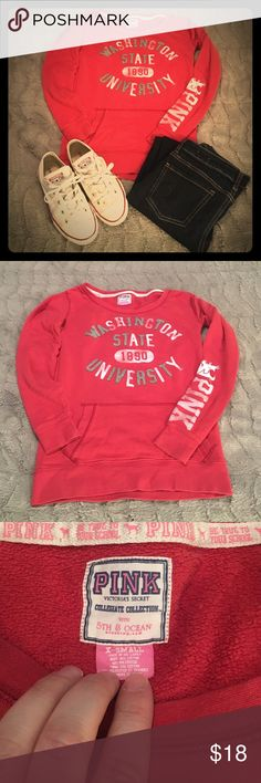 PINK, WSU Cougars Hooded Sweatshirt Go Cougars! This is an adorable sweatshirt. In excellent condition. PINK brand Washington State University sweatshirt. PINK Victoria's Secret Tops Sweatshirts & Hoodies