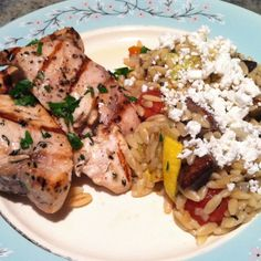 Grilled swordfish and vegetable goat cheese orzo made with ingredients from the Reading Terminal Market.