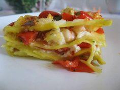 Pasta al forno fredda stracchino gamberi e pesto