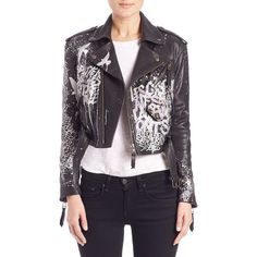 Faith Connexion Tagged Leather Moto Jacket ($2,825) ❤ liked on Polyvore featuring outerwear, jackets, apparel & accessories, black, motorcycle jacket, black moto jacket, asymmetrical zip jacket, leather motorcycle jacket and leather moto jacket