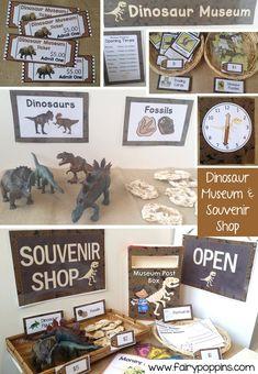 Dinosaur Museum and Souvenir Shop dramatic play center and printables ~ Fairy Poppins Dinosaurs Preschool, Dinosaur Activities, Dinosaur Crafts, Preschool Themes, Preschool Activities, Measurement Activities, Vocabulary Activities, Dinosaur Dig, Kindergarten Centers