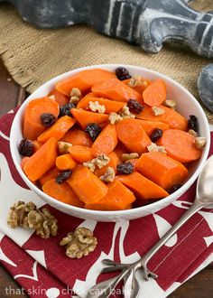 Orange Glazed Carrots | Carrots with a sweet orange glaze, walnuts and dried cranberries #VegFlavorBible