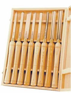 PSI Woodworking LCHSS8 HSS Wood Lathe Chisel Set, 8-Piece -  Product Features  Ideal kit for turning small pens, spindles, bowls and larger projects The M2 High Speed Steel 5-1/4-Inch blades outlast high carbon steel 6-to-1 and will give you years of