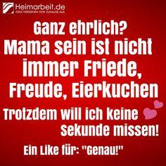 Ganz ehrlich? Mama sein ist nicht immer Friede, Freude, Eierkuchen. Trotzdem will ich keine Sekunde missen! Jetzt Fan werden: www.facebook.com/Heimarbeit.de/  Geld verdienen von Zuhause aus: www.Heimarbeit.de