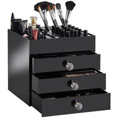 4 Tier große schwarze Acryl Kosmetik Make-up Display Storage Organizer Schublade Cas Makeup Vanities, Makeup Table Vanity, Diy Vanity, Vanity Tables, Vanity Ideas, Diy Makeup Organizer, Cheap Makeup Organization, Acrylic Makeup Organizers, Home Decor Ideas