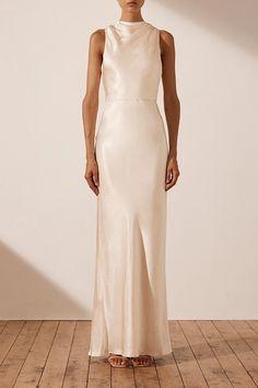 Cream Wedding Dresses, Slip Wedding Dress, Cream Dresses, White Satin Dress, Satin Dresses, High Neck Bridesmaid Dresses, Bridesmaids, Halter Neck Wedding Dresses, Shona Joy Dress