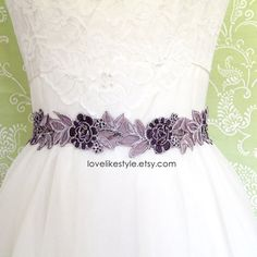 Purple and Lavender  Beaded Lace Sash Purple  by lovelikestyle  like this one also