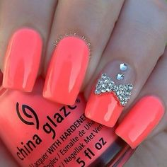 Coral nails, Exquisite nails, Long nails, Nails with bow, Nails with…