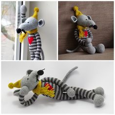 crochet gray striped rat with big heart